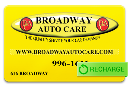 Recharge your Broadway Auto Care Gift Card